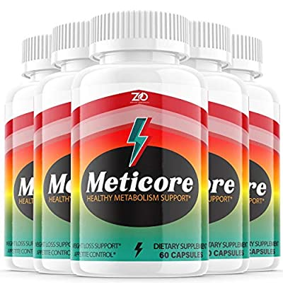 (5 Pack) Meticore Weight Management Pills, Medicore Manticore Pills Metabolism Supplement Booster - Healthy Energy Support Boost Metabolism Burn Fat Keto Diet BHB - Natural (300 Capsules)