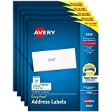 Avery Address Labels with Sure Feed for Inkjet Printers, 1' x 2-5/8', 3,750 Labels, Permanent Adhesive (5 packs 8160)