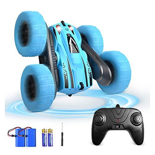 Coche Teledirigido, BONROB 2.4 GHz Coche de Control Remoto 4WD Stunt RC Coche Acrobacia Rotación Volteo de 360 ° Radiocontrol Electric Juguetes para Niños