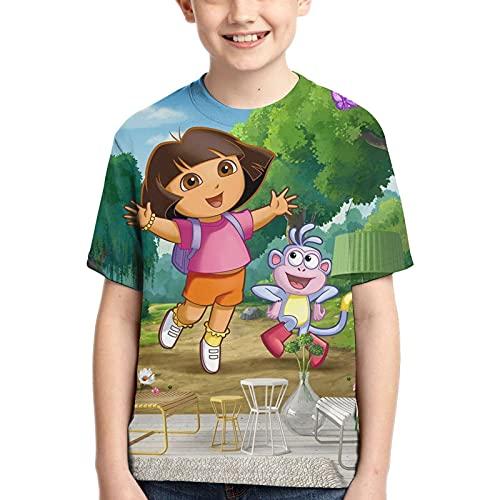 Hdadwy Camiseta para niños Dora The TV Explorer Camiseta Tops Camiseta con Estampado 3D para niños y niñas