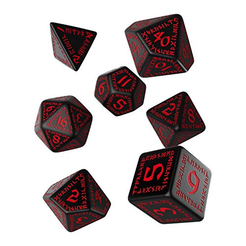 Runic Dice Set Black - Red (7)