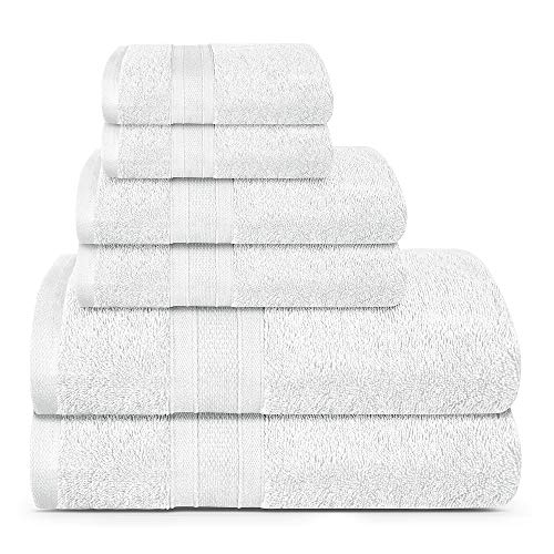 TRIDENT Soft and Plush, 100% Cotton, Highly Absorbent, Bathroom Towels, Super Soft, 6 Piece Towel Set (2 Bath Towels, 2 Hand Towels, 2 Washcloths), 500 GSM, White