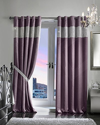 viceroy bedding PAIR OF VELVET STYLE DIAMANTE THERMAL BLACKOUT Eyelet Ring Top Curtains Including Pair of Matching TIE BACKS (66'' x 90'', Purple/Aubergine)