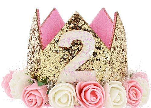 Hitopin 1 Stücke Geburtstag Baby Krone Mit der Nummer 2, Baby Princess Crown Geburtstagskrone Haarband Haarschmuck Prinzessin Geburtstagskrone Mädchen Haarband Baby Geburtstag Hut (Rosa)