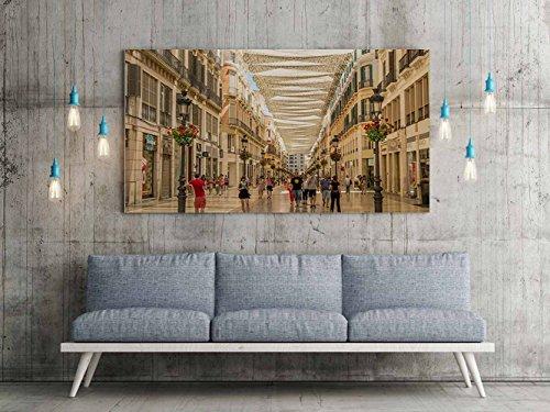 Oedim Cuadro Lienzo Impresión Digital Urbano Calle Larios Malaga | Multicolor | Cuadro Lienzo de 100 x 60 cm | Lienzo Enmarcado Ligero, Resistente y Económico