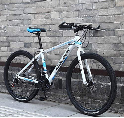 Bicicleta de montaña de 26'para Deportes al Aire Libre para Adultos, Cuadro de Aluminio Ligero, Frenos de Disco Delanteros y Traseros, palancas de Cambio giratorias de 21 velocidades