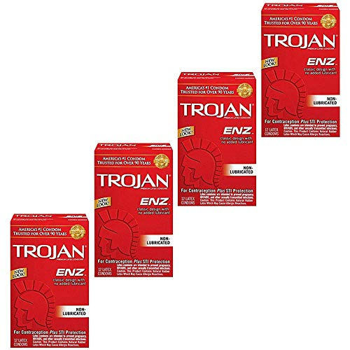 Trojan ENZ hKpSKJ Non-Lubricated Condoms, 12 Count (Pack of 4)