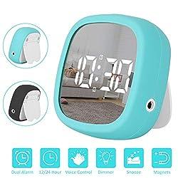Sanlinkee Traveling Digital Alarm Clock, Dimmable LED Time Alarm Clock with Dual Alarm Clock, Snooze, USB Charging, Simple Operation Clock for Kids Bedroom Office (Black/Blue)