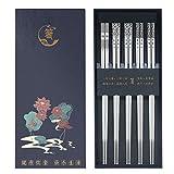 Metal Chopsticks - Reusable Chopsticks Dishwasher Safe - Stainless Steel Chopsticks with Case, Non-Slip Chop sticks - Premium Japanese Korean Chopstick for Cooking Eating,9 1/4 Inches 5 Pairs Gift Set