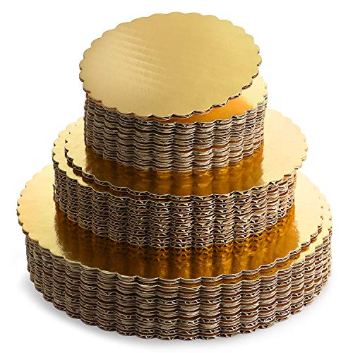 Paquete de 30 tablas de cartón base dorada para tartas de 15,24 cm, 20,32 cm y 25,4 cm, 10 de cada tamaño, base redonda a prueba de...
