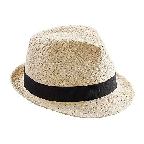Beechfield - Sombrero de Paja Modelo Trilby Festival Unisex Hombre Mujer - Fiesta/Ibiza (S/M) (Carne)