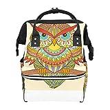 Mochila para pañales con diseño de búho, ideal para viajes, bolsa cambiadora de bebé, gran capacidad, impermeable y elegante