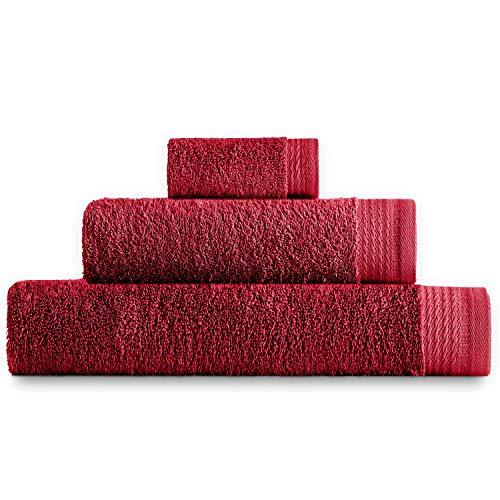 Eiffel Textile Juego de Toallas Calidad Rizo 600 gr, Algodón Egipcio 100%, Rojo, 100x150 cm, 3 Unidades