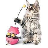 REDSTORM Jouet Chat, Balle pour Chat 4 en 1, Jouet Distributeur Croquette Chat Facile à Nettoyer,Tumbler Jouet pour Chat et Chaton avec Bâton de Chat Drôle (Purpurin)
