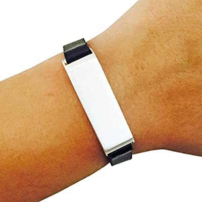 FUNKtional Wearables Fitbit Bracelet for Fitbit Flex Fitness Activity Trackers - The Kate Single-Strap Brushed Metal and Premium Vegan or Genuine Leather Buckle Fitbit Bracelet