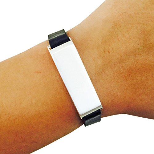 Fitbit Bracelet for FitBit Flex Fitness Trackers - The KATE Single-Strap Brushed Metal and Premium Vegan Leather Buckle Fitbit Bracelet - Alternative to Tory Burch Fitbit (Black and Silver, S/M)