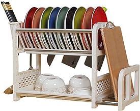 con cesta para cubiertos y bandeja escurridora para platos de cocina y cubiertos Waroomss 40 x 29 x 22 cm 2 pisos Escurreplatos con bandeja escurridora