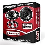 Pioneer Kit Haut-parleurs pour portière Avant avec Anneaux adaptateurs pour Peugeot 207 240W