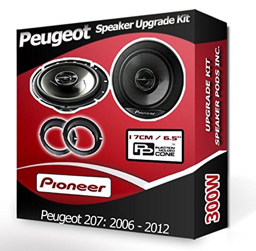 Pioneer Kit Haut-parleurs pour portière Avant avec Anneaux adaptateurs pour Peugeot 207 240 W