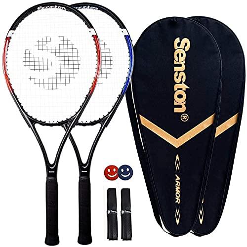 Senston 2X Raqueta de Tenis Moldura de Una Pieza, Incluido 2 Bolsa de Tenis/2 Grip/2 Amortiguadores