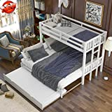 Aooppec Upgraded Version Stronger Wooden Twin Over Twin/Full/Queen/King Bunk Bed with Trundle, Adjusted Thicken Pull-Out Bunk Bed Frame Twin Size to King Size with Ladder & Safety Rail (White)