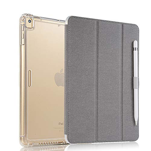 Valkit iPad Pro 12.9 Case 2017/2015 (Old Model,1st & 2nd Gen) - iPad Pro 12.9 Inch Cover Smart Folio Stand Protective Heavy Duty Rugged Armor Cases with Auto Wake/Sleep & Pencil Holder, Light Grey