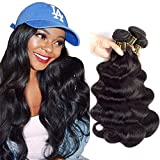 QTHAIR 12A Grade Brazilian Virgin Hair Body Wave Natural Black 100% Unprocessed Virgin Brazilian Body Wavy Human Hair Weave 3 Bundles 20' 18' 16' 300g Brazilian Body Wave Human Hair Extensions