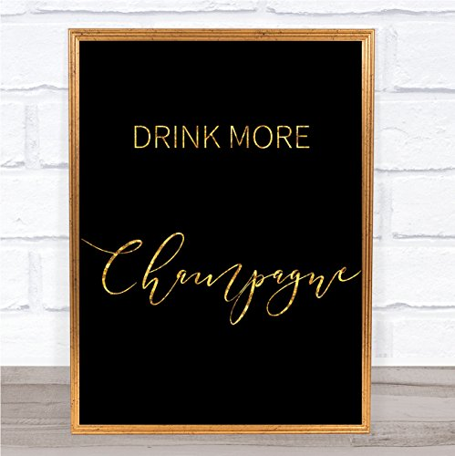 Zwart & Goud Drink Meer Champagne Quote Muur Art Print Framed Rose Gold Large