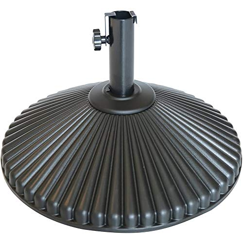 Abba Patio 50lb Patio Umbrella Base Water Filled 23 Round Recyclable Plastic Outdoor Market Umbrella Stand Base for Deck, Lawn, Garden, Black