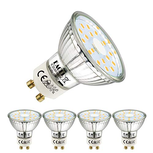 EACLL GU10 LED 5W 4000K Neutralweiß Leuchtmittel 495 Lumen Birne kann Ersetzen 50W Halogen. AC 230V Kein Strobe Strahler, Abstrahlwinkel 120° Reflektor Lampen, Neutralweiss Licht Spotleuchten, 4 Pack