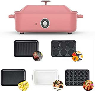 Household Multi-Function Barbecue Frying Pan, Electric Hot Pot,Heated Electric Multifunction Compact + plate Takoyaki + Co...