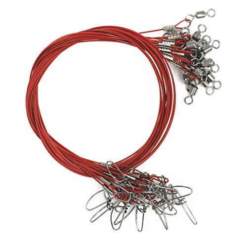 Cable de pesca de acero inoxidable de alta resistencia, guías con giros y cierres, 20 unidades, para hasta 45 kg., rojo