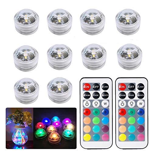 Sxstar 10pcs Bougies lumières LED Submersibles, lumières étanches Multi-Coleur,SMD 3528 RGB Lumières d'humeur avec télécommande Infrarouge pour vases, Bols, Piscine, Aquarium, fête, Mariage