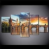 SXBB Lienzo HD Impresiones Imágenes Pared Arte Carteles 5 Piezas Praga Río Vltava Puente De Piedra Pinturas De Paisaje Decoración del Hogar 40x60cmx2+40x80cmx2+40x100cmx1