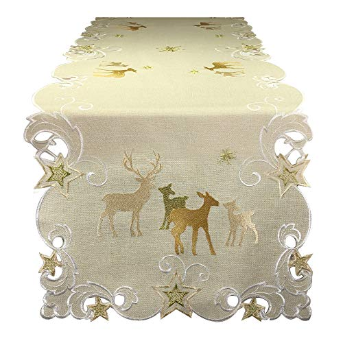 Christmas Reindeer Cutwork Table Runner Tablecloth Embroidered Gold Natural Earth Tones Holiday Decoration Decor (15' x 69')