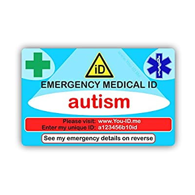 Autism emergency medical ID wallet or purse identity card. Lifelong access to You ID Me. Lifesaving information to paramedics. FREE SMS Alert My Contacts trial. 2018 design works with smartphones etc. by Ahead Solutions