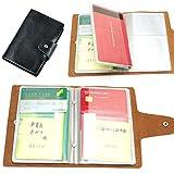 通帳ケース 本革製 通帳とカードセットで収納できる (黒)