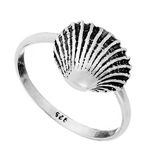 81stgeneration Frauen .925 Sterling Silber Dünnes Band Muschel Shell Ring