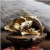 erddcbb Diente de Sable de Bronce Réplica de cráneo de Tigre Rastreo médico anatómico Cráneo de Dientes de Sable Esqueleto de enseñanza Decoración de Halloween Adorno de Estatua (Escala 1/3)