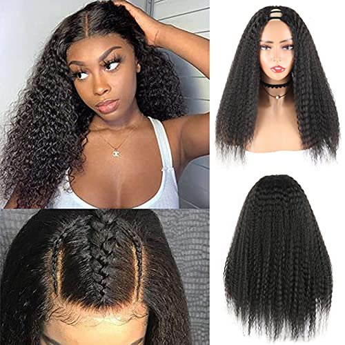 LEOSA Kinky Straight U Part Wigs for Black Women Half Wig Curly Upart Wig Clip in Hair Extension Middle Part Wig Synthetic Black Yaki Straight Wigs 12A Half Wigs for Women 20inch Deep Wave Wigs