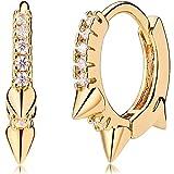 Mevecco Gold Huggie Hoop Earrings for Women 14K Gold Plated Turquoise Hoop Earrings Cuff Earrings Huggie Stud Gold Sleeper Earrings for Women …
