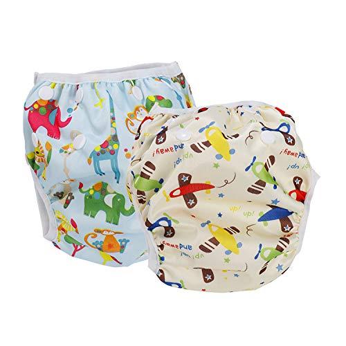 Leideur Pañales para nadar Pañales de natación reutilizables 2 paquetes para niños Pantalones cortos de natación (0-3 Years, Avión + Animal Azul)
