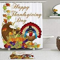 WOTAKA シャワーカーテン バスマット 2点セット 幸せな感謝祭かわいいトルコ秋収穫カボチャトウモロコシ 自家 寮用 ホテル 間仕切り 浴室 バスルーム 風呂カーテン 足ふきマット 遮光 防水 おしゃれ 12個リング付き