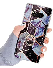 Robinsoni Case Compatibel met Galaxy S8 Cover Siliconen TPU Case Spiegel Reflectie Marmeren Case met Ring Kleurrijke Kickstand Cover Ultra Dunne Siliconen Bumper Case Marmeren Ring Case Rood