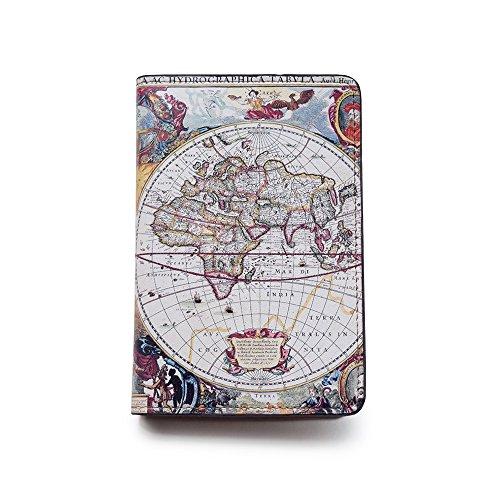 Handmade Curious Reisepasshülle aus Leder im Vintage-Stil, Vintage Karte (Mehrfarbig) - TTG-BPC-001-FBA