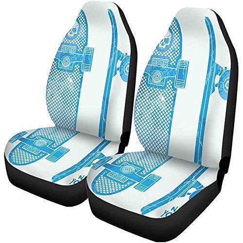 TABUE 2 stuks autostoelhoezen Skater Skate Board Graphics Schedel Abstracte houding Brooklyn Cool Seats Protector past voor auto, SUV limousine, vrachtwagen