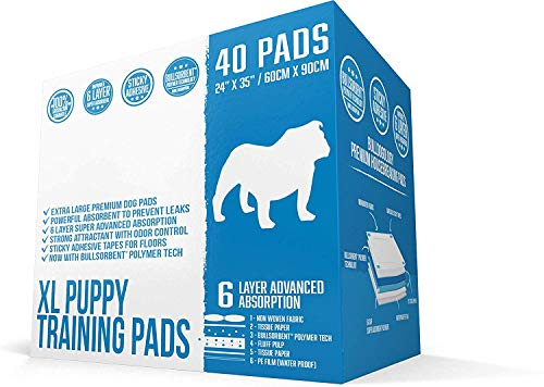 Bulldogology Puppy Pee Pads XL with Adhesive Sticky Tape - Extra Large Dog Training Wee Pads (24x35) 6 Layers with Extra Quick Dry Bullsorbent Polymer Tech (40-Count, White)