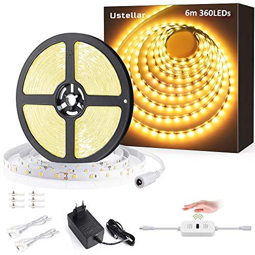 Ustellar LED Strip Dimmbar 6M, LED Streifen Warmweiß 3000k, Selbstklebend LED lichtbandStrips mit Handwelleschalter, 720LEDs Lichtleist 3600LM kürzbar für Unterbauleuchte Küche Schrankbeleuchtung