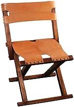 ZNBJJWCP Stool Folding Portable Mazar Solid Wood Triangle Stool Leather Home Retro Fishing Chair