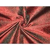 The Yard Brokat-Stoff aus reiner Seide, Blaugrün / Rot,